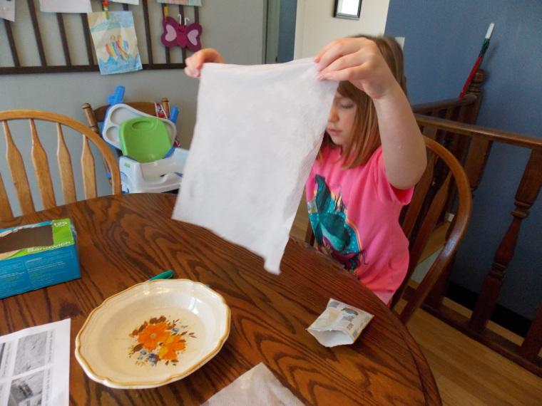 Dip paper towels in water.